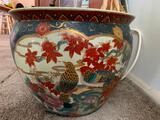 Porcelain Planter W/Oriental Design & Plant