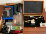 Gun Cleaning Items, Sharpening Kit In Case, & Misc. Items