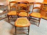 Set Of (4) Antique Cane Bottom Chairs