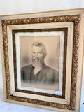 Antique Wood & Gesso Frame W/Somebody's Grandpa