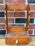 Vintage Wooden Single Drawer Shelf W/Porcelain Pull