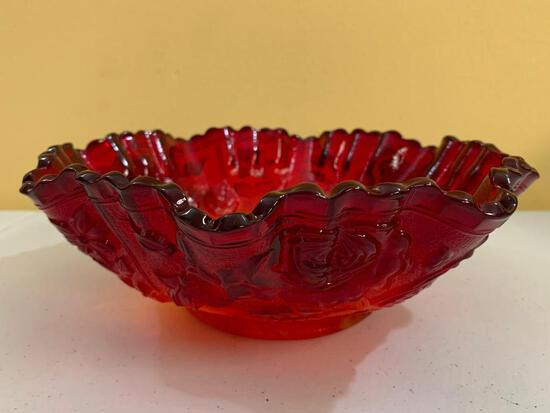 Vintage Imperial Glass Bowl W/Embossed Roses In Red Slag Glass