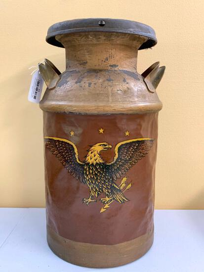 Antique 5 Gallon Painted Milk Can W/Lid & Eagle