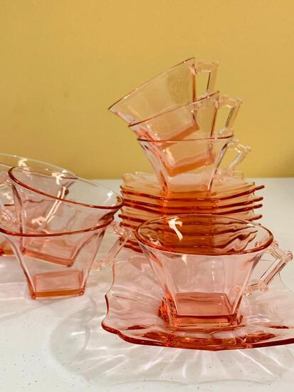 Set Of (8) Pink Depression Cups & Saucers