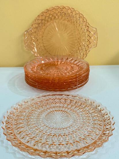 (9) Pcs. Vintage Pink Depression Glassware