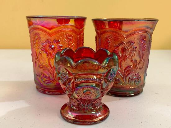 (3) Pcs. Of Imperial Glass: (2) Water Glasses W/Daisy's & Daisy & Button Toothpick Holder