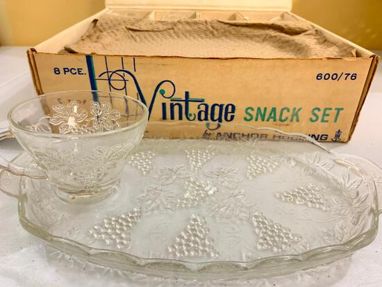 Mid-Century (8) Pc. Glass Snack Set In Original Box Made By Anchor Hocking Glass Co.