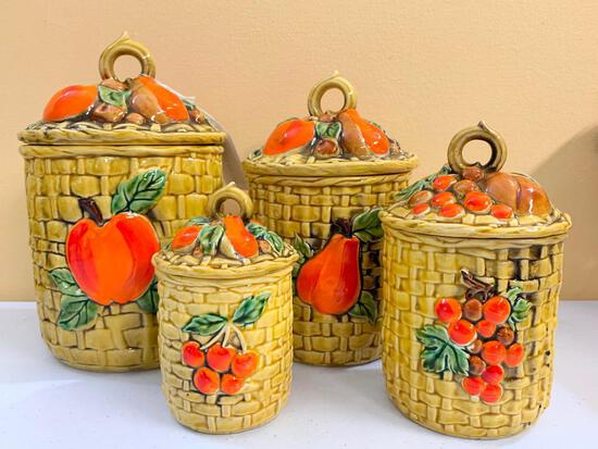 (4) Pc. 1970's Ceramic Canister Set W/Embossed Fruit & Baskets
