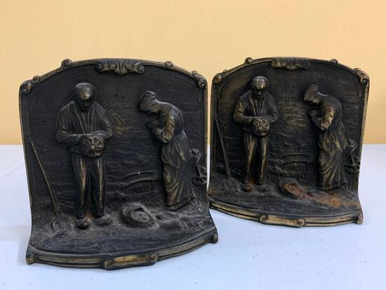 "Matching Antique Cast Iron Bookends Titled ""Giving Thanks"""