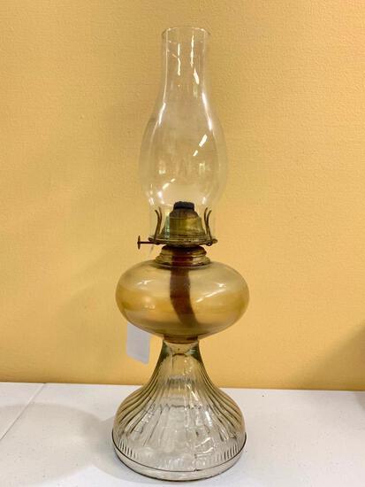 Antique Oil Lamp W/Brass Eagle Burner & Glass Chimney