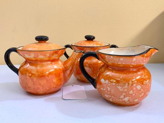 "Vintage (3) Pc. Orange Lustre Teapot, Cream, & Sugar is ""Made In Czechoslovakia"""