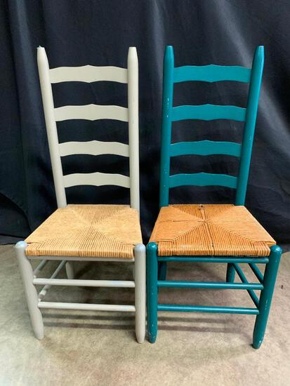 Two, Painted Ladder Back, Rush Bottom Chairs