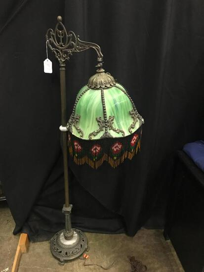 Metal Floor Lamp with Antique Stand and Reproduction Shade and Bracket for Shade