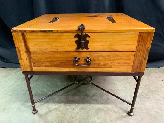 Mexican Made End Table with What Looks Like Hand Wrought Hardware