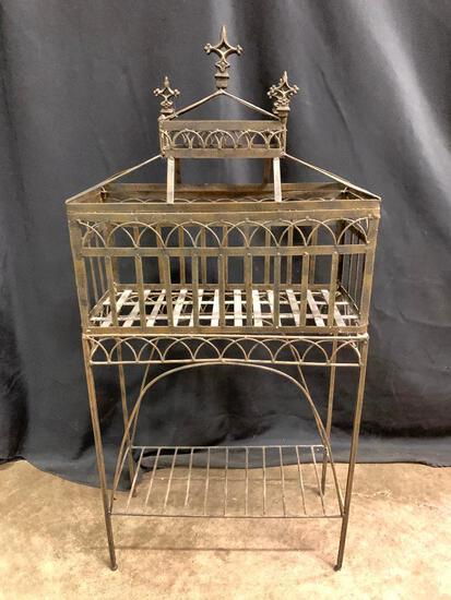 Decorative, Metal Stand with Shelf on Bottom