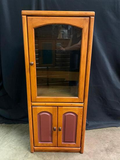 Oak Stereo Cabinet with Maroon Color Accetns