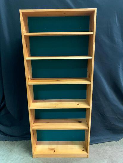 Pine Book Shelf Unit, Painted Green Backing