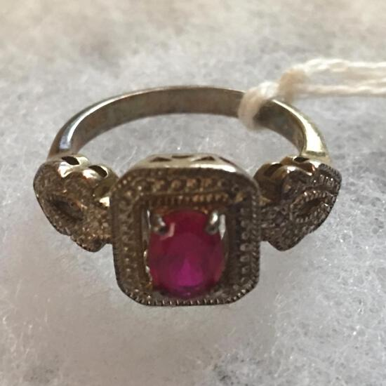 Sterling .925 Ladies Ring W/Ruby Color Faceted Center Setting