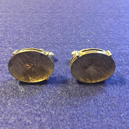 Vintage Men's Cuff Links W/Small Diamonds