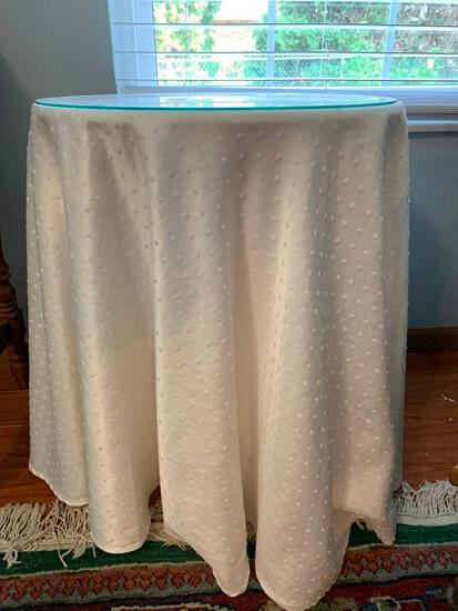 Small, Round Skirted Table with Fabric Cover and Glass Top