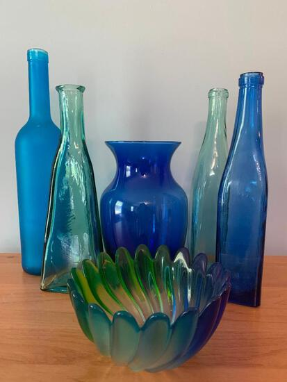 Group of Multi-Color Bottles and vases as Pictured