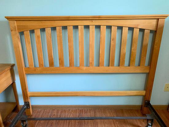 Queen Size, Maple Finish Headboard with Hollywood Bed Frame