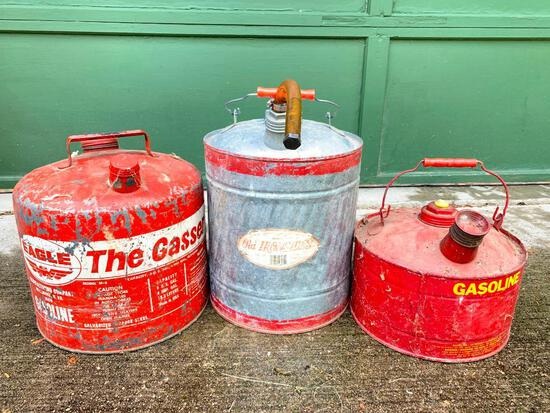 Three Vintage, Metal Gas Cans as Pictured