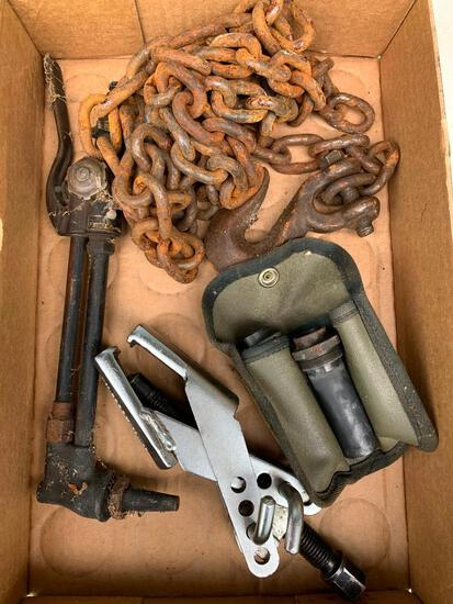 Vintage Torch Head, Chain with one Hook and Tools Pictured