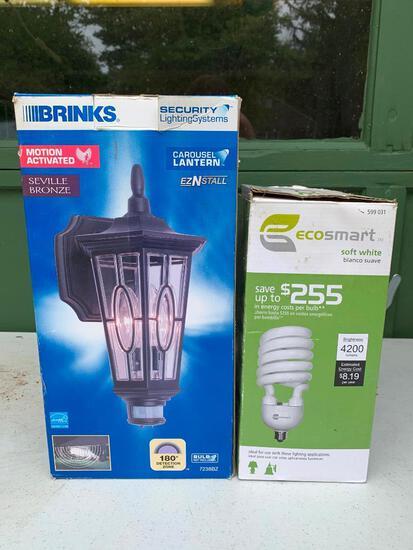 Brinks, Seville Bronze Security Light and an Ecosmart 300 Watt Equivalent Light Bulb