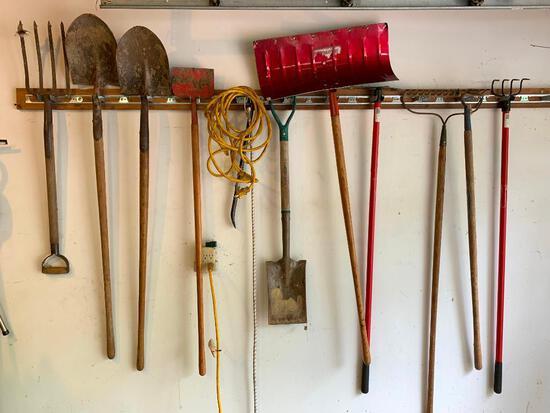 10 Yard Tools Hanging in Garage