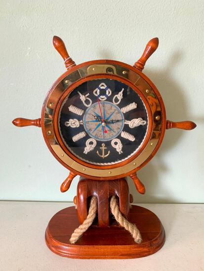 Interesting, Contemporary, Quartz, Nautical Themed, Ship Wheel Clock
