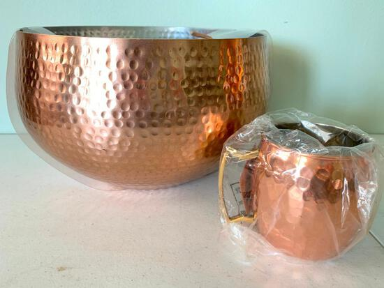 Threshold Copper Bowl with Ladle and Cup