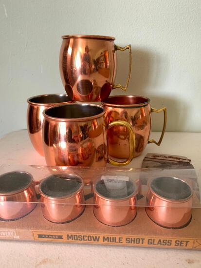 Moscow Mule Copper Mugs and Set of Shot Glasses