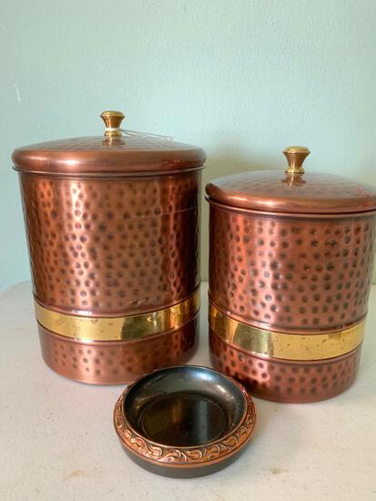 Metal, Two Piece Canister Set with a L.E. Mason Co, Boston Mass., Metal Ash Tray