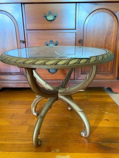 Interesting, Gold Plastic Side/End Table with Glass Insert