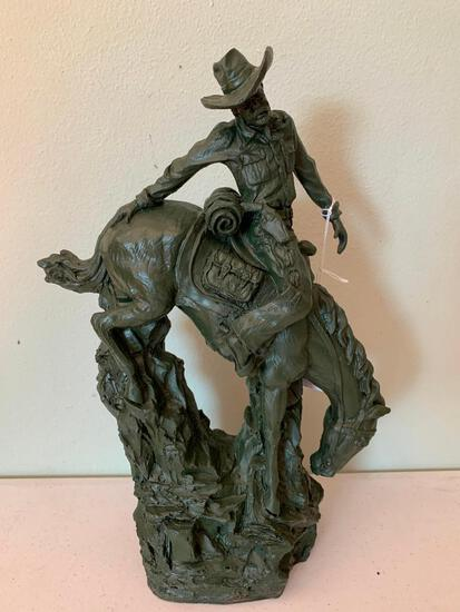 Contemporary, Resin Western, Decorative, Cowboy on Horse Statue/Figurine