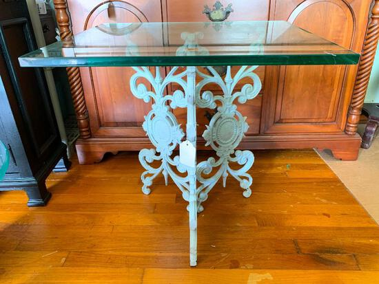 Interesting, Wrought Iron Base with Square, Glass Top