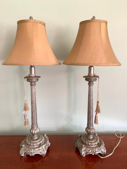 Pair of Contemporary Candlestick Lamps, Working