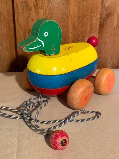 """Vintage, Wood Pull Duck by Sifo, 5"""" Tall"""