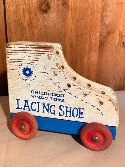 """Vintage Childhood Interest Toys, Lacing Shoes, 5"""" Tall"""