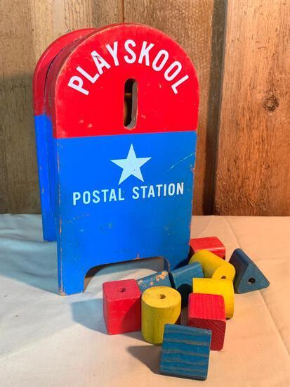 "Vintage, Wood Playschool, Postal Station Mail Box,11"" Tall"