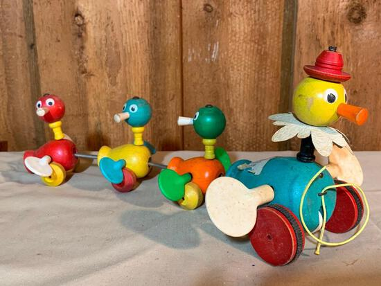 """Vintage Wood, Fisher Price, Duck, Pull Toy, 13"""" Long"""