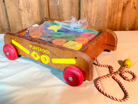 "Vintage, Wood, Playschool, Block Holder, Wagon, 13"" Long"