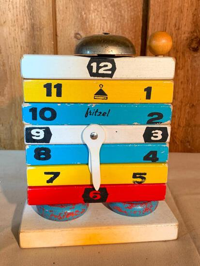 """Fritzel, Vintage, Wood, Learning to Tell Time Toy, 7"""" Tall"""