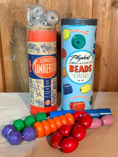 Playschool Jumbo-Assorted Beads and Set of Junior Tinker Toys in Original Tubes