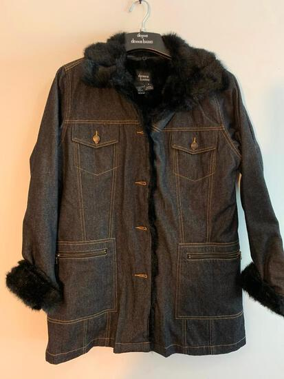 Dennis Basso Size Small, Denim with Faux Fur Collar and Liner