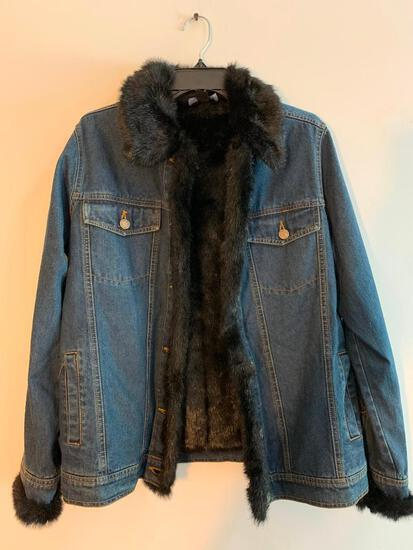Dennis Basso Size Extra Small, Denim with Faux Fur Collar and Liner