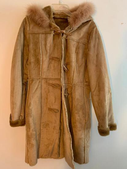 Ruff Hewn, Fake Suede Ladies Long Coat, Size Small