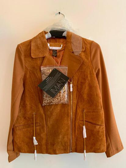 Iman, Extra Small, Cognac Colored Jacket, Leather Shell