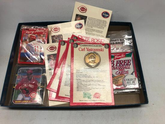 Group of Reds Cards and Cooperstown Collection Coins in Packages from Kahn's
